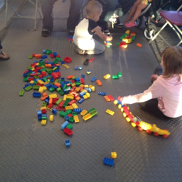 LEGO DUPLO play may at First Friday April 4, 2014