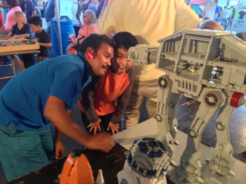 Admiring the AT-AT designed and built by LUGVegas Member Mark B. at First Friday May 2, 2014